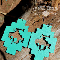 Crazy Train Buckin' Bronc Rodeo Earrings - Turquoise