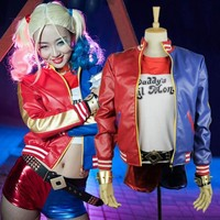 New Batman Harley Quinn Suicide Squad Costume Adult  women Cosplay Costume Full Set halloween costumes for women