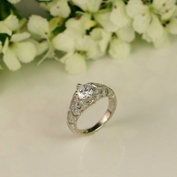 Vintage Style Engagement Ring - Art Deco Ring - Wedding Ring - Promise Ring - Cubic Zirconia Ring - Sterling Silver