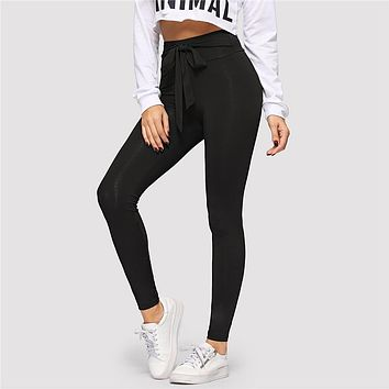 Black Tie Waist Drawstring Solid Skinny Leggings Women Active Wear Leisure Casual Workout Leggings