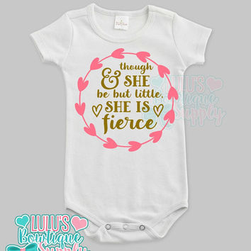 Baby Girl Shirt Bodysuit, Custom Baby Little but Fierce Saying shirt , Baby girl clothes, New Baby Gift , Baby Gift, Custom Baby Clothes