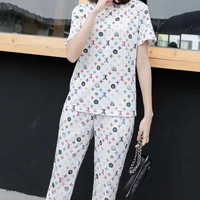 """""""LOUIS VUITTON""""Woman's Leisure  Fashion Letter Printing  Short Sleeve Trousers Two-Piece Set Casual Wear"""