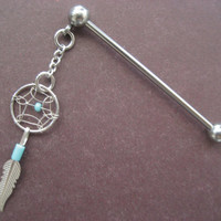 Dangle Industrial Barbell Upper Ear Piercing Turquoise Dream Catcher Feather Dreamcatcer Charm