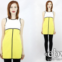 Vintage 90s does 60s Colorblock Mod Mini Dress S M Bandage Dress Bodycon Dress Stretch Dress Club Dress 90s Mini Dress Fitted Dress
