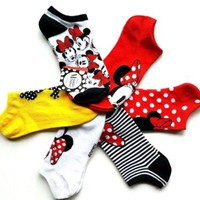 NWT Womens Disney MINNIE MOUSE Set of 6 Pairs No Show Socks Size 9-11