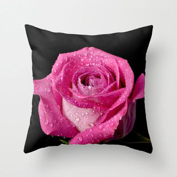 Rose Pillow Cover Floral Bright Pink Black Rose Cover Flower Throw Cushion Cover 16x16 pillow case Gifts Under 50