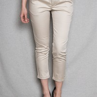 The Timing Inc  Step Out In Style Belted Twill Capri Pants - Taupe