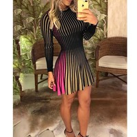Plus Size Women Stripe Long Sleeve Cocktail Club Short Mini Casual Dress Sexy Bodycon Slim Elegant Ladies Casual A-Line Dress