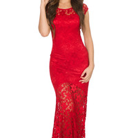 Camilla Lace Dress-Red