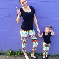 Mommy Aqua and Yellow Aztec Leggings - Ryleigh Rue Clothing by MVB