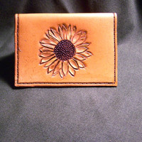Hand Tooled Sunflower Leather Credit Card and Business Card Wallet, Card Case