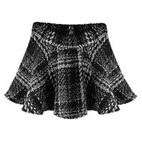 ROMWE | Romwe Check Pleated Black Woolen Skirt, The Latest Street Fashion