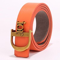 DIOR Fashion Women Chic Metal Buckle Multicolor Leather Belt Orange