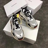 Balenciaga Women's Leather Triple S 1.0 Sneakers Shoes