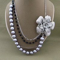 Multi Strand Chain Bead Flower Necklace Silver and Black Statement