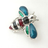 Vintage Bee Brooch, Black, Red, Blue, Green Silvertone Bug Pin