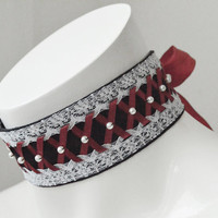 Gothic choker - Cosette - Black and red laced choker - goth lolita neko kitten girl pet soft play collar with pearls