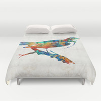 Colorful Bird Art - Sweet Song - By Sharon Cummings Duvet Cover by Sharon Cummings