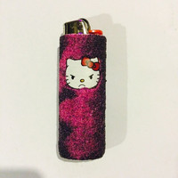 Grumpy cat Hello Kitty handmade BIC lighter cover