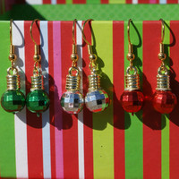 Choice of Christmas Ornament Earrings Red Green or Silver Ball Earwires Holiday Jewelry
