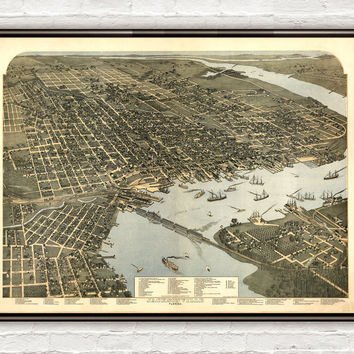 Old Map of Jacksonville Florida 1893