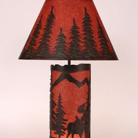 Small Moose Scene Paneled Table Lamp in Rustic Red