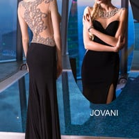 Jovani 99085 In Stock Black SZ 4 Jeweled Sheer Back Jersey Prom Pageant Dress