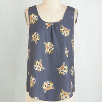 Cats Mid-length Sleeveless It Had to be Mew Top by Bea & Dot from ModCloth