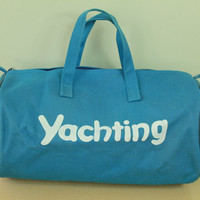 Vintage - 70s/80s - Yacht Rock - YACHTING - Blue Canvas - Novelty - Duffel - Duffle Bag - Weekender Bag - Large - Carry On Bag