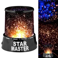 New Gift Romantic Star Master Starry Moon Beauty Night Light Cosmos Projector Bed Side Lamp (Black)