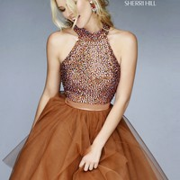 Sherri Hill 11306 Jeweled Halter Short Ball Gown