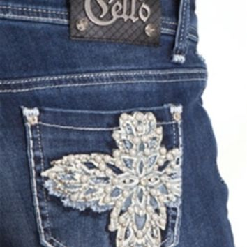 Cello Jeans Bootcut Crystal Floral Cross Pocket YW-10332