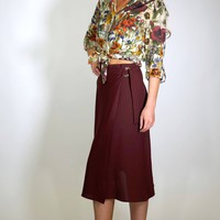 Burgundy A-Line Wrap Skirt