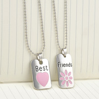 """2015 New """"Best Bitches"""" Letter Hangtag Splice Together Pendant Chain Necklace Women Girls Friendship Gifts Accessories 2 Pcs\set"""