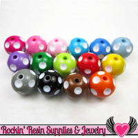 20mm Polka Dot Beads, Multi Color Mix, chunky bubblegum beads, 10 ct