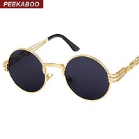 Peekaboo vintage retro gothic steampunk mirror sunglasses gold and black sun glasses vintage round circle men UV