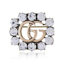 """Hot Sale """"Gucci"""" Popular Women Chic GG Letter Crystal Diamonds Brooch Accessories Jewelry"""