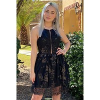 Feelin' So Good Sequin Black Lace Halter Skater Dress