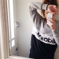 """Adidas"" Alphabet Print Patchwork Women's Fashion Pullover Hot Sale Hoodies [6698332295]"