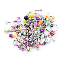 Lot of 90 Mixed Assorted Ball Tongue Eyebrow Labret Navel Belly Nipple Ring Barbell Button Wholesale