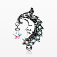 Sparkle Star Crescent Moon Reverse Belly Button Ring