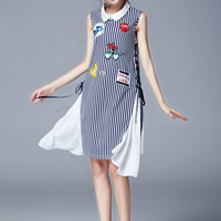 Stripe Embroidered Sleeveless Collared Asymmetrical Chiffon Dress