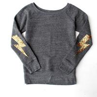 Harry Potter Inspired Sequin Lightning Bolt Elbow Patch Sweatshirt Jumper