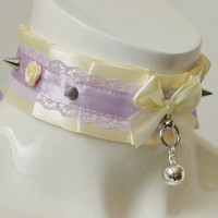 Kitten play collar - Thorned rose - ddlg kitrenplay little princess bdsm choker w bell - kawaii cute fairy kei violet lilac and ivory yellow