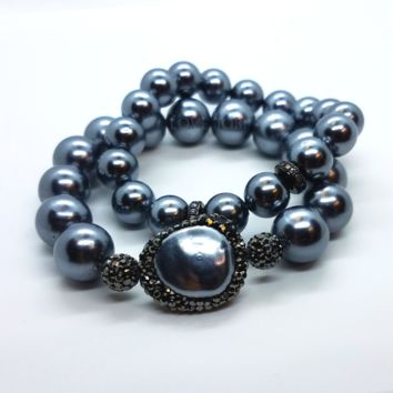 Black Shell Pearl and Hematite Stretch Bracelet Set for Woman