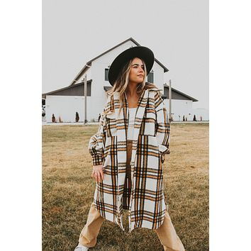 Clementine Long Plaid Button Down