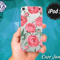 Peony Flower Pattern Vintage Peonies Pink Pastel Red Cute Rubber Transparent Clear Case For iPod Touch 5th Generation iPod Touch 6th Gen
