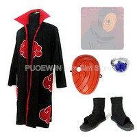 Naruto Sasauke ninja Anime Uzumaki  Akatsuki Obito Uchiha Cosplay Costume Full Set AT_81_8
