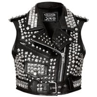 Overload Cropped Leather Vest [B]