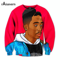 Raisevern New Style Tupac Thug Life 3D Sweatshirt Hip Hop Star 2pac Hoodies Crewneck Sweats Shirts Pullovers Tops Streetwear